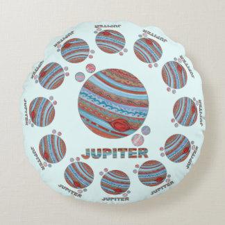 Planeta Júpiter de Z y friki colorido del espacio Cojín Redondo