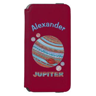 Planeta Júpiter y friki colorido del espacio de Funda Cartera Para iPhone 6 Watson