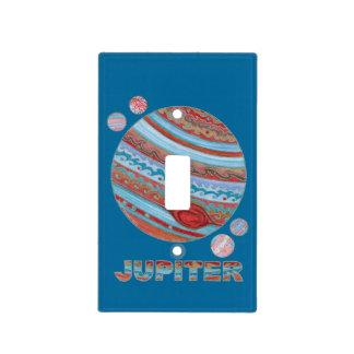 Planeta Júpiter y placa de pared de las lunas Cubierta Para Interruptor