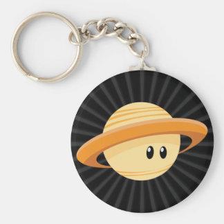 Planeta lindo de Saturn Llavero Redondo Tipo Pin