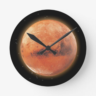 Planeta Marte y reloj de pared estrellado de la as