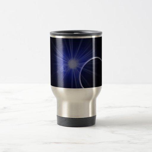 Planeta negro azul de Sun Tazas De Café