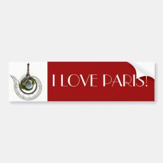 Planeta París - la torre Eiffel Etiqueta De Parachoque