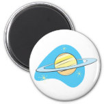 Planeta retro Saturn Imán Redondo 5 Cm