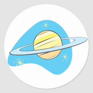 Planeta retro Saturn Pegatina Redonda