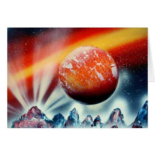 Planeta rojo sobre las montañas con hacer excursio tarjeton