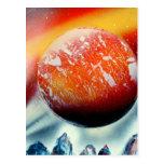 Planeta rojo sobre las montañas con hacer excursio postal