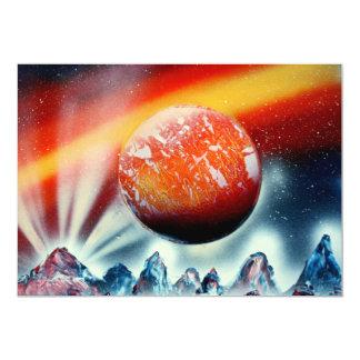 """Planeta rojo sobre las montañas con hacer invitación 5"""" x 7"""""""