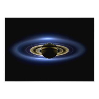 """Planeta Saturn delante del Sun Invitación 5"""" X 7"""""""