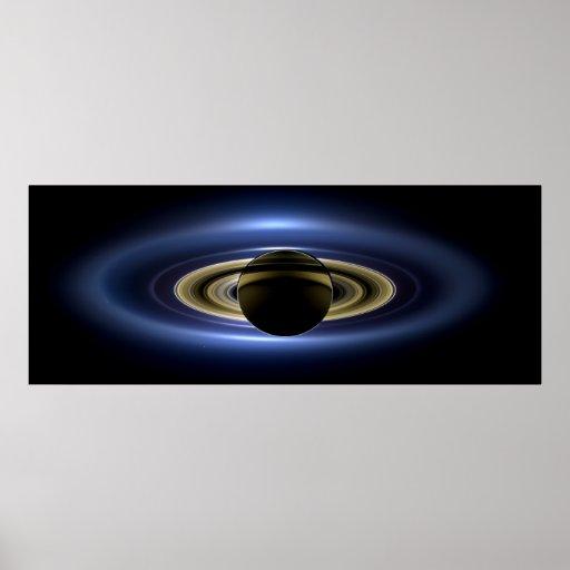 Planeta Saturn delante del Sun Póster