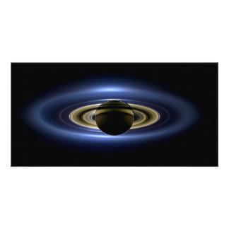 Planeta Saturn delante del Sun Tarjetas Con Fotos Personalizadas