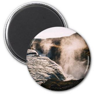 Planeta temático, paisaje vaporizado de la tierra imán redondo 5 cm