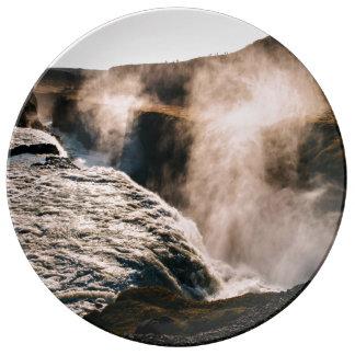Planeta temático, paisaje vaporizado de la tierra platos de cerámica