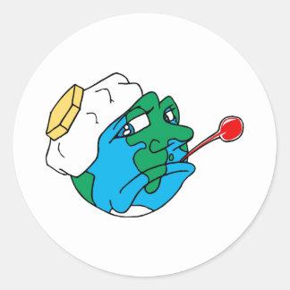 Planeta triste etiquetas redondas