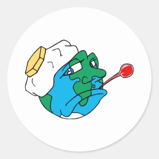 Planeta triste pegatina redonda