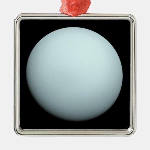 Planeta Urano Adorno Cuadrado Plateado