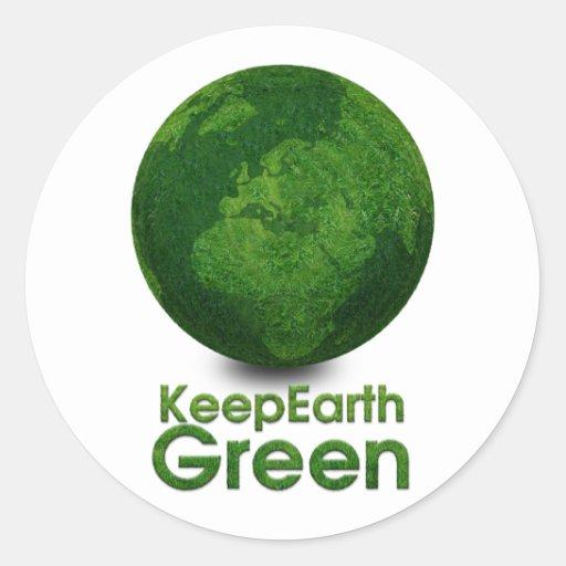 Planeta verde - guarde el verde de la tierra pegatina redonda