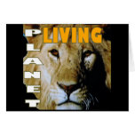 Planeta vivo del león respetuoso del medio tarjeta de felicitación