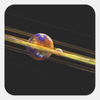 Planeta y luna del espacio profundo pegatina cuadrada
