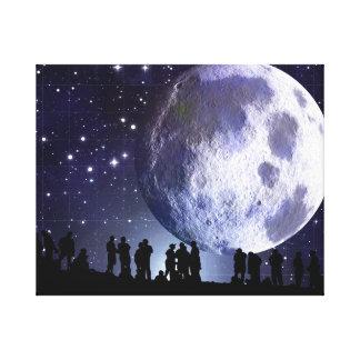 Planetarium Silhouettes Astronomy Moon Canvas Art Canvas Print