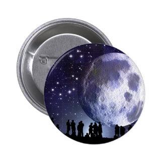 Planetarium Silhouettes Moon Stars Astronomy Pinback Buttons