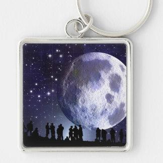 Planetarium Silhouettes Moon Stars Astronomy Keychain