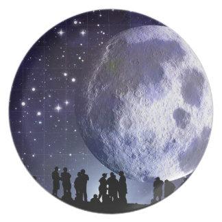 Planetarium Silhouettes Moon Stars Astronomy Plate