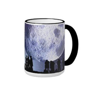 Planetarium Silhouettes Moon Stars Astronomy Ringer Mug