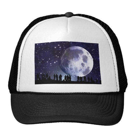 Planetarium Silhouettes Moon Stars Astronomy Trucker Hat