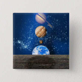 Planetary alignment, computer artwork. button