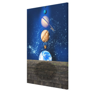 Planetary alignment, computer artwork. canvas print