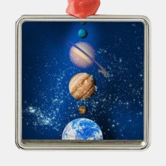 Planetary alignment, computer artwork. metal ornament