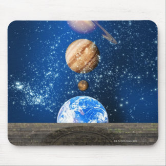Planetary alignment, computer artwork. mouse pad