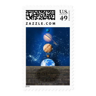 Planetary alignment, computer artwork. postage stamps