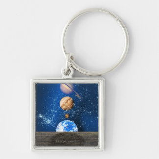 Planetary alignment, computer artwork. Silver-Colored square keychain