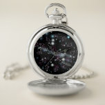 """Planetary Glyphs Deep Space Astronomy Pocket Watch<br><div class=""""desc"""">Know a star-gazer who&#39;d love a pocket watch? If so, they&#39;ll adore this design featuring a deep space background topped by astronomcial glyphs symbolizing the sun, moon, planets &amp; one large asteroid in our solar system! The metallic purple glyphs mark time: the Sun is 12, the Earth is 6 and...</div>"""