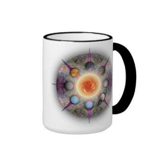 Planetary Mandala Colored Handle Mug