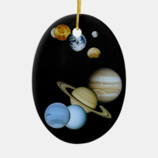 Planetary Montage Double-Sided Oval Ceramic Christmas Ornament