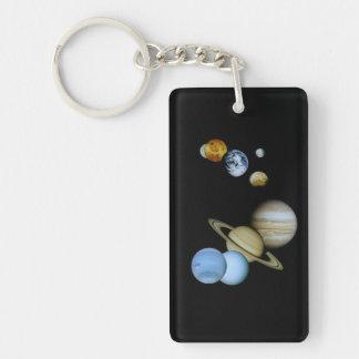 Planetary Montage Double-Sided Rectangular Acrylic Keychain