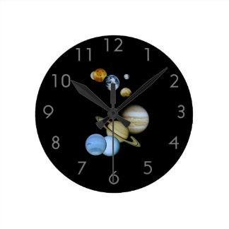 Planetary Montage Round Clock