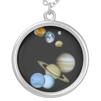 Planetary Montage Round Pendant Necklace