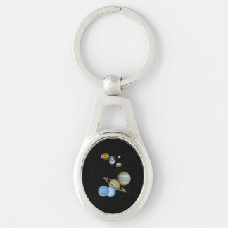 Planetary Montage Silver-Colored Oval Metal Keychain