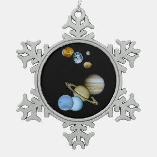 Planetary Montage Snowflake Pewter Christmas Ornament