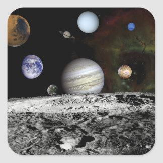 Planetary Montage Square Stickers