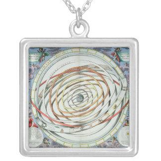 Planetary orbits square pendant necklace