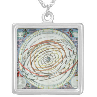 Planetary orbits silver plated necklace