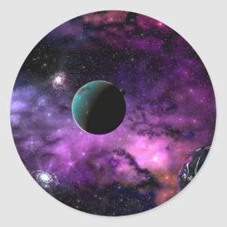 Planetary Space Round Stickers