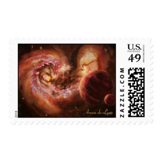 Planetary System and Antennae Galaxies Postage Stamps