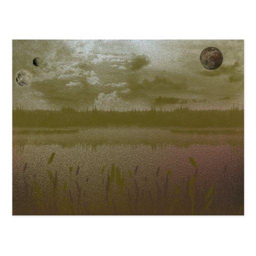 Planetas brumosos de oro tarjeta postal