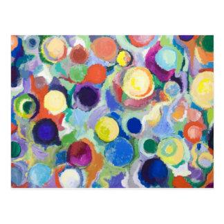 Planetas coloridos (expresionismo abstracto) tarjeta postal